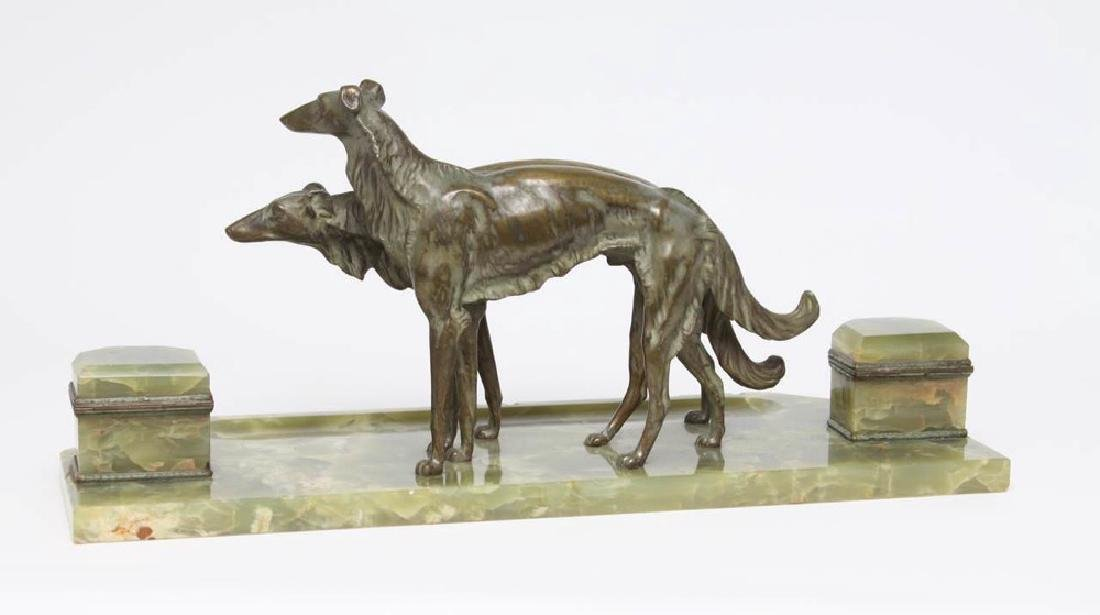 French Bronze and Onyx Inkstand with a Pair of Borzoi - 5