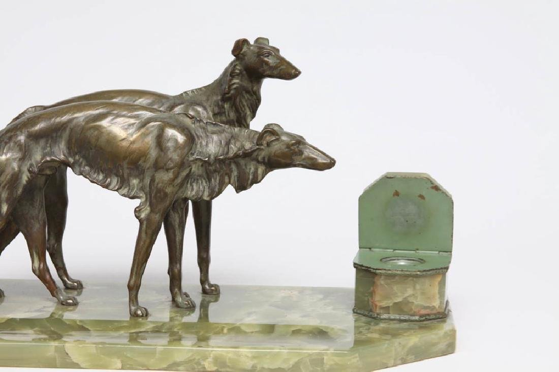 French Bronze and Onyx Inkstand with a Pair of Borzoi - 6