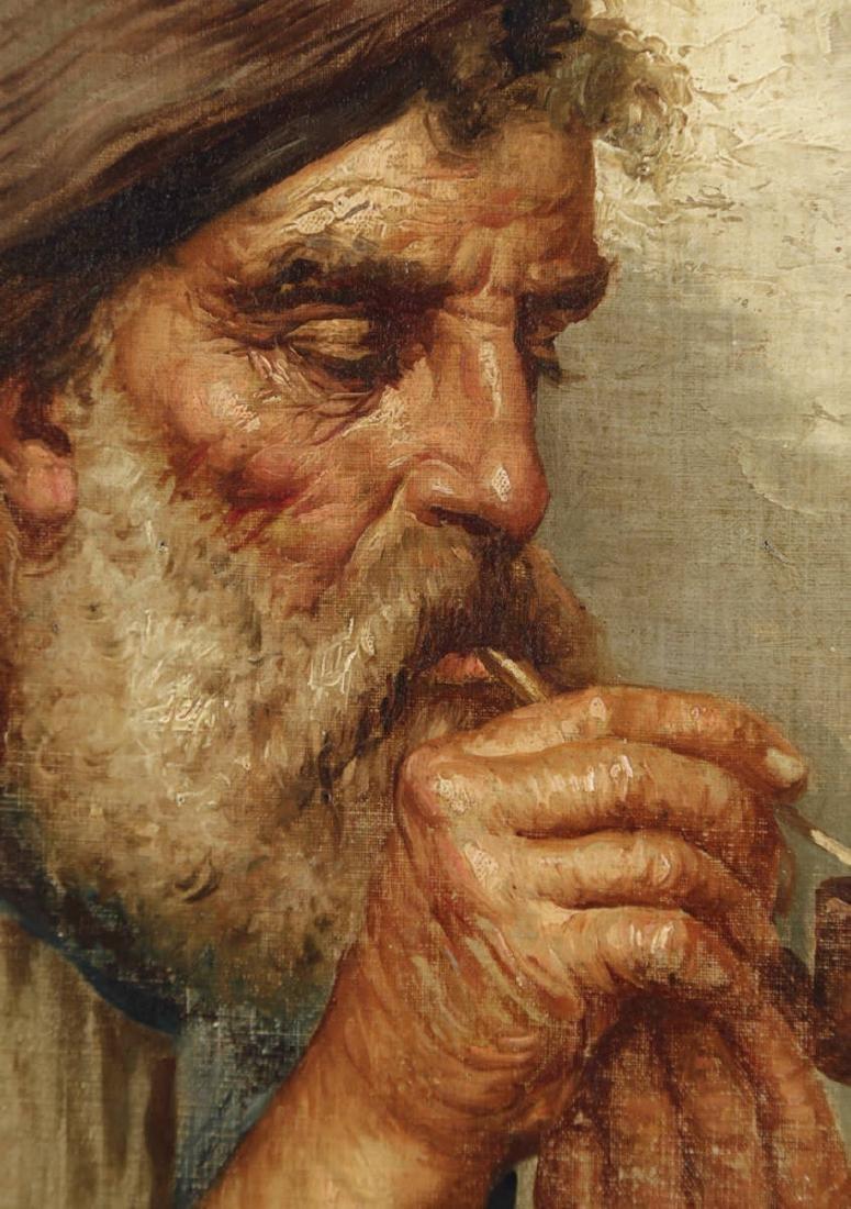 19thc. Italian School - Man Smoking a Pipe - 3