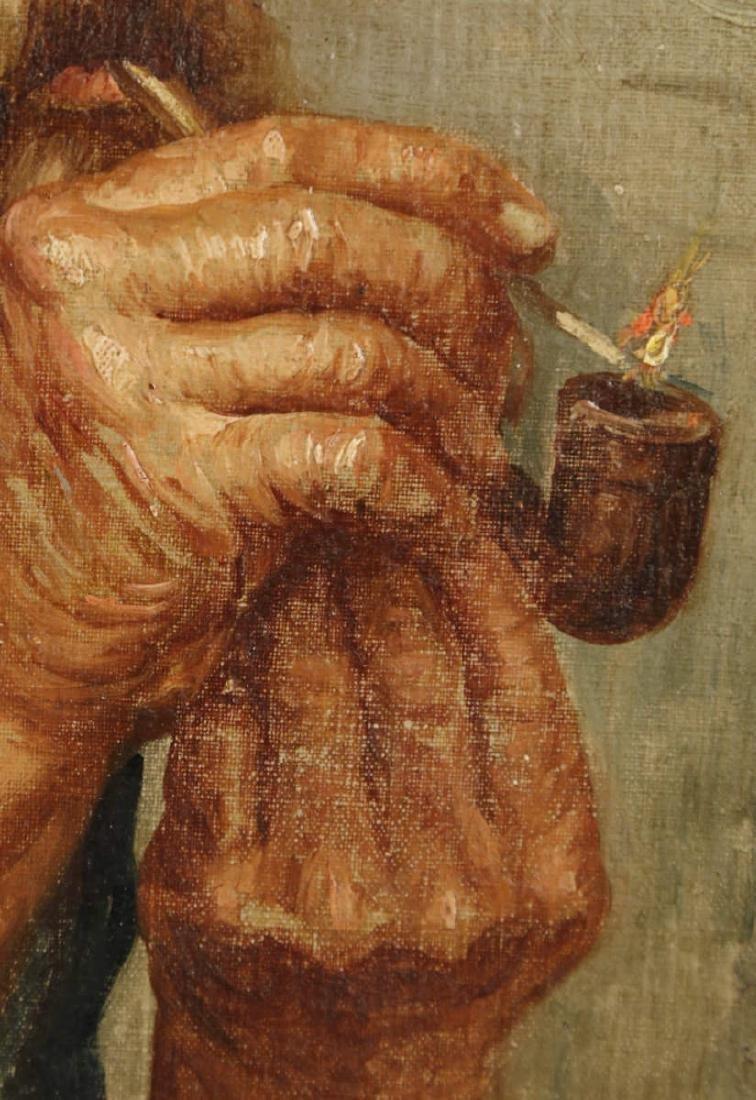 19thc. Italian School - Man Smoking a Pipe - 4