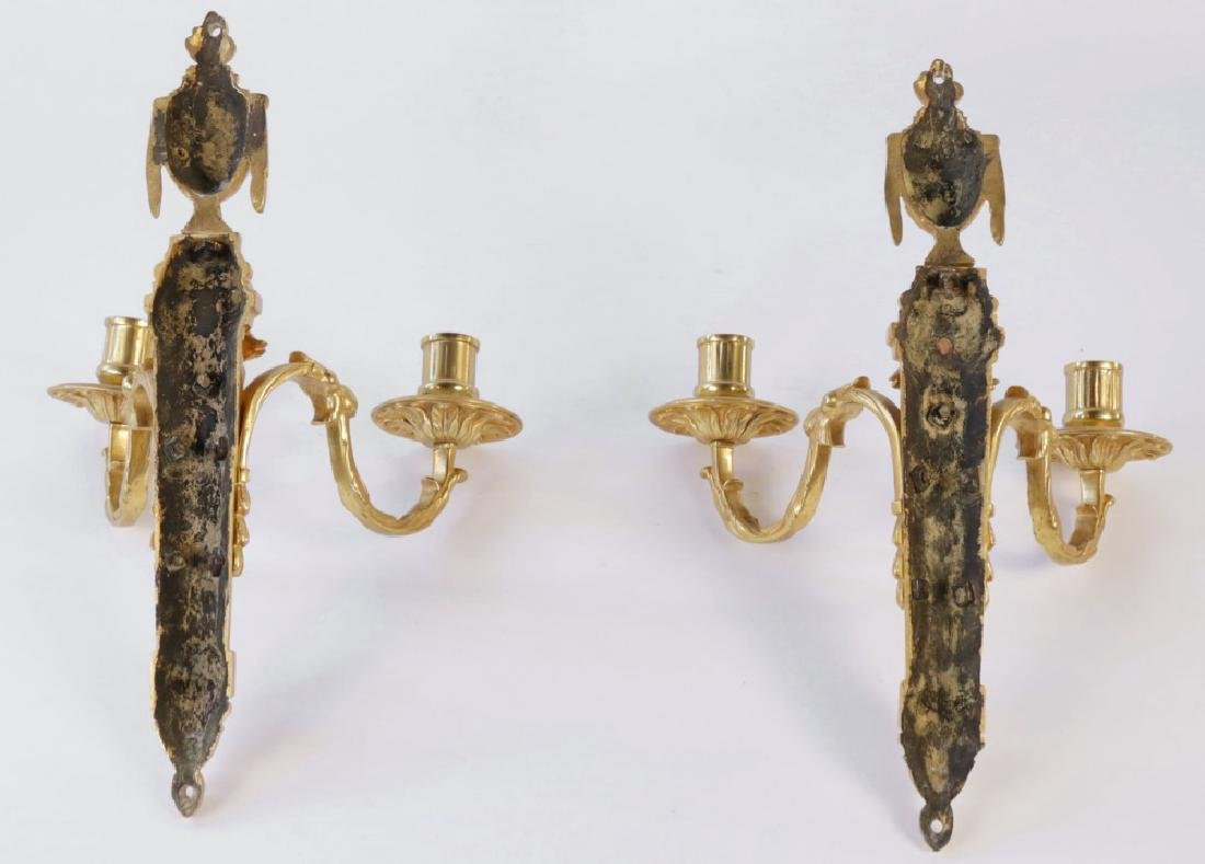 Pair Louis XVIth French Gilt Bronze Wall Sconces - 4