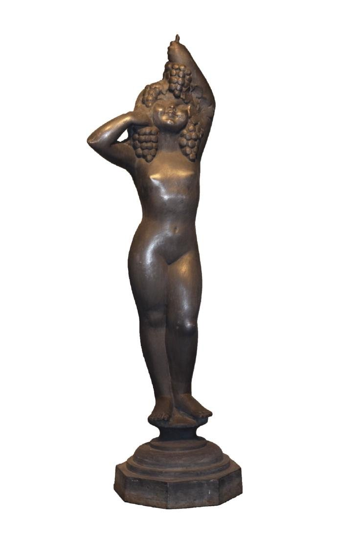 Cast Iron Figure of Bacchic Maiden, 20th century