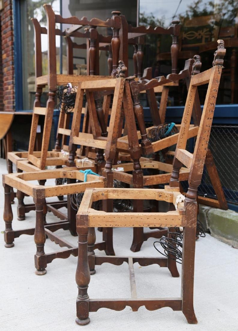 Set of Twelve Baroque Style Walnut Dining chairs - 4