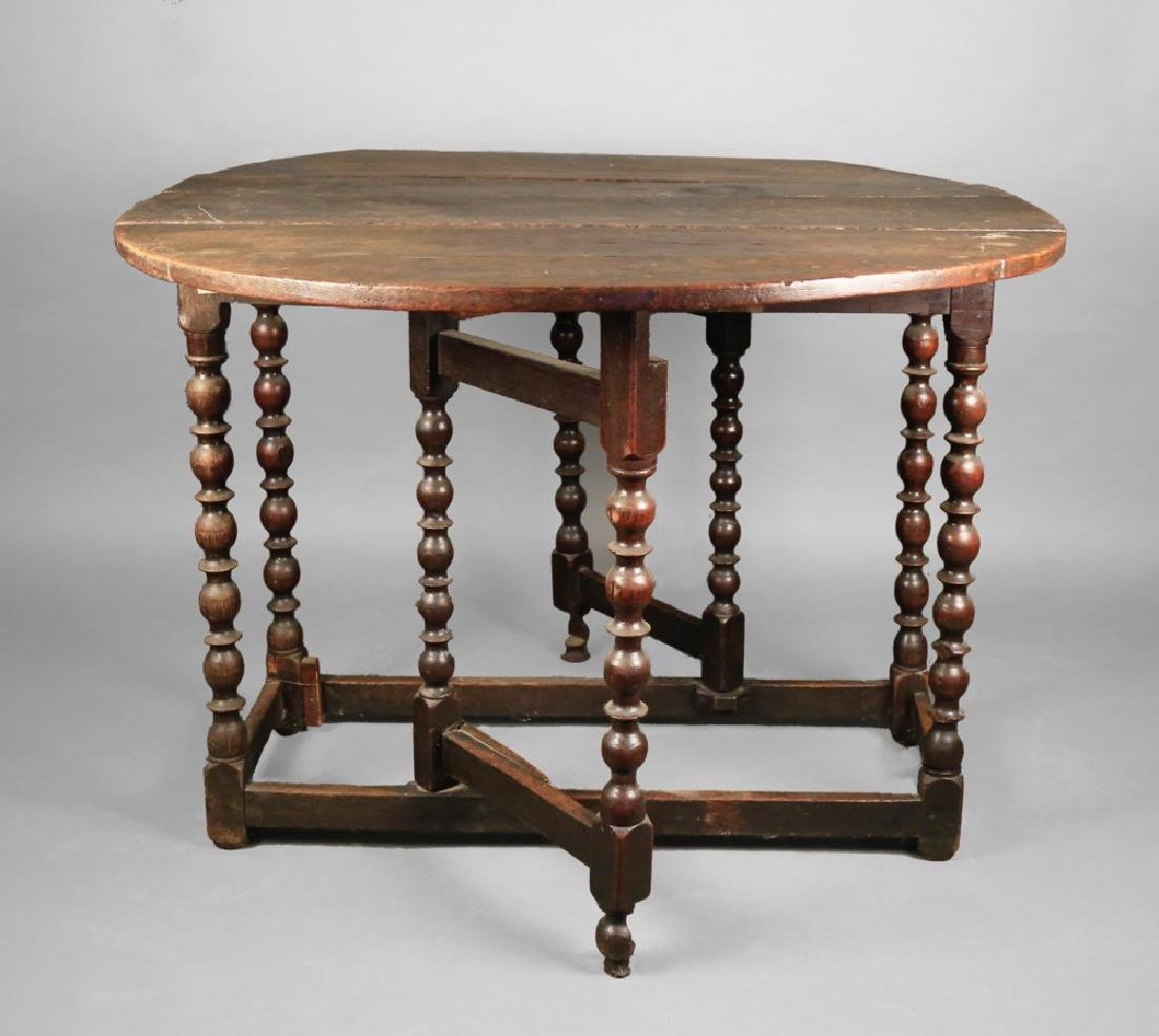 English William and Mary Oak Gateleg Table, 17th/18thc.