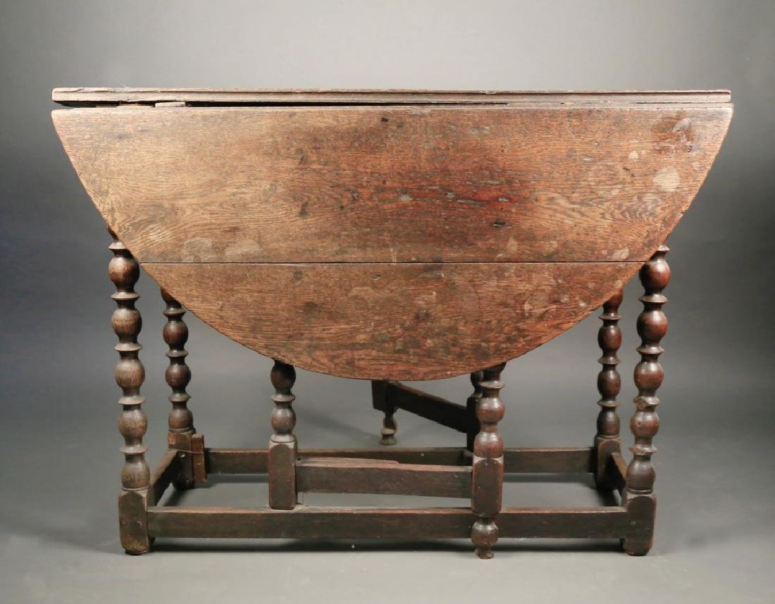 English William and Mary Oak Gateleg Table, 17th/18thc. - 3