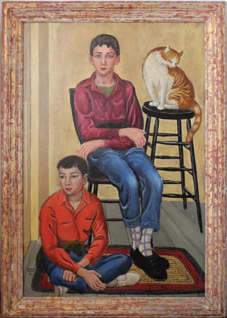Dorothy Eaton (American 1893 - 1968) Two Boys and a Cat