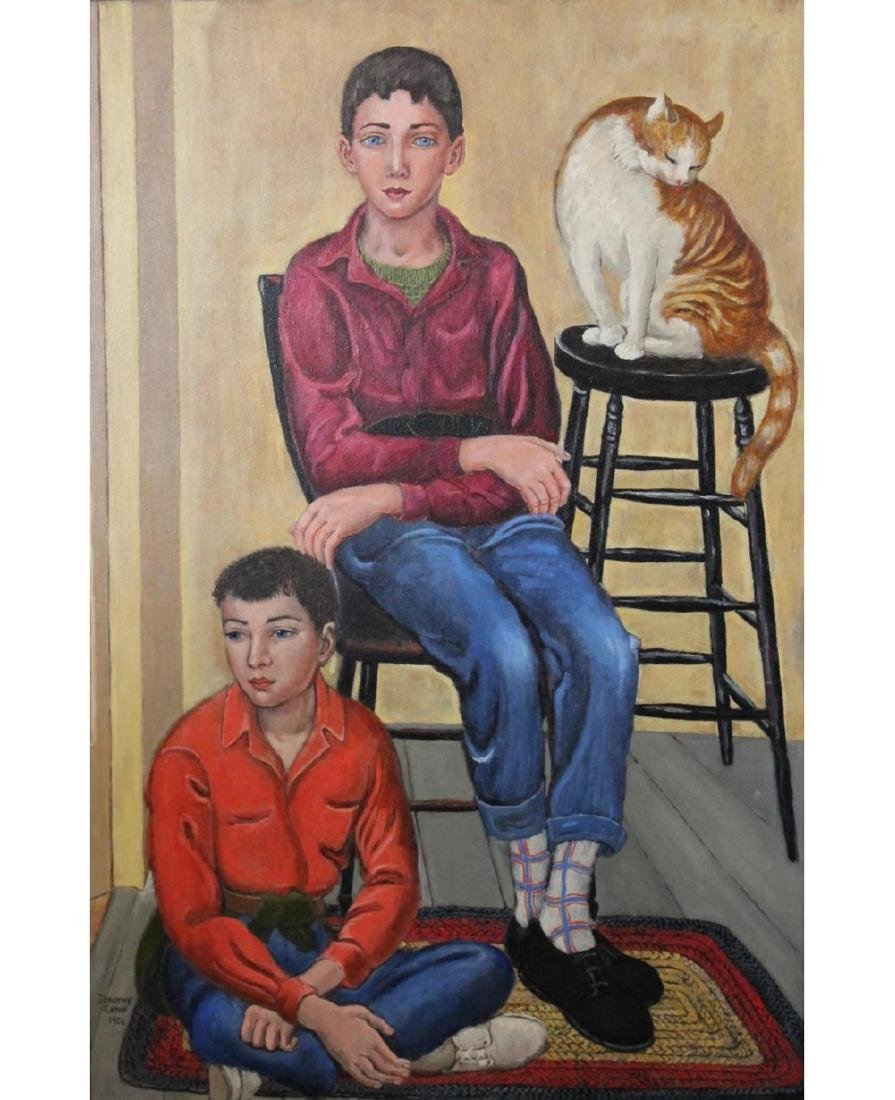 Dorothy Eaton (American 1893 - 1968) Two Boys and a Cat - 2