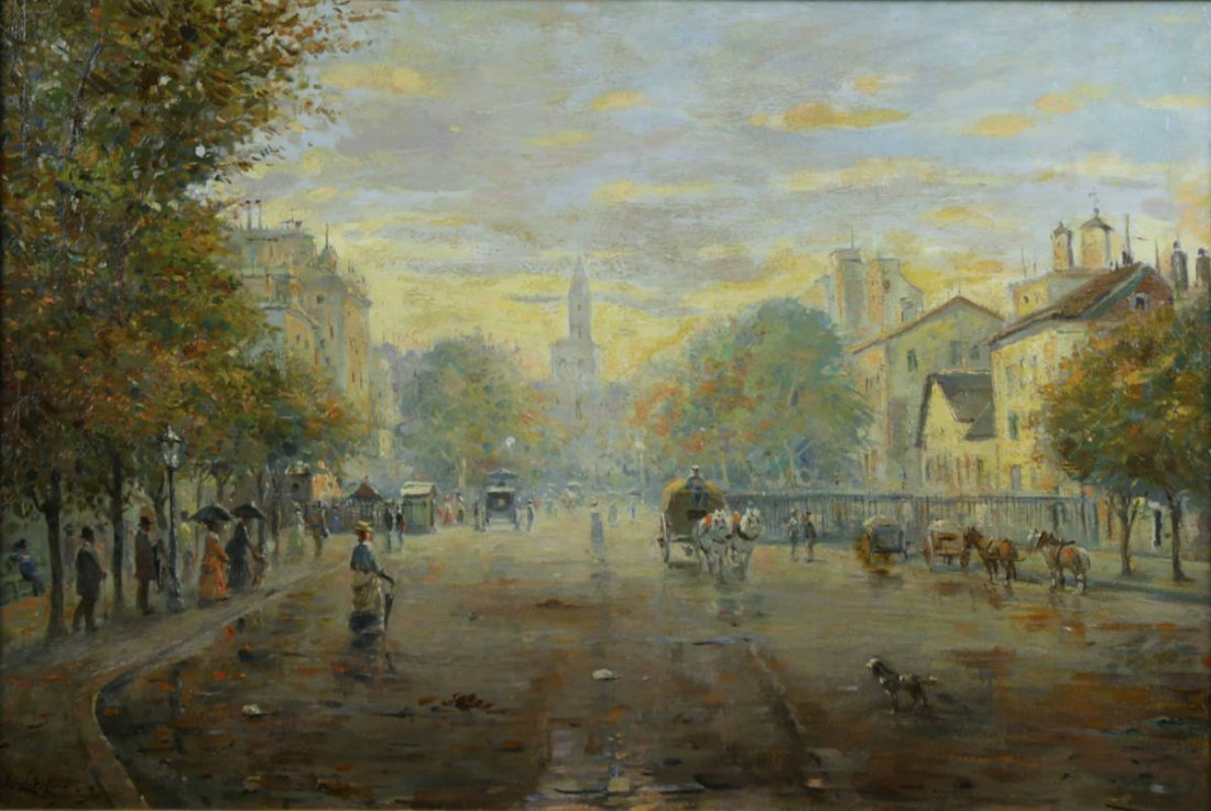 Parisian Street Scene, Avenue Montaigne, 19th Century