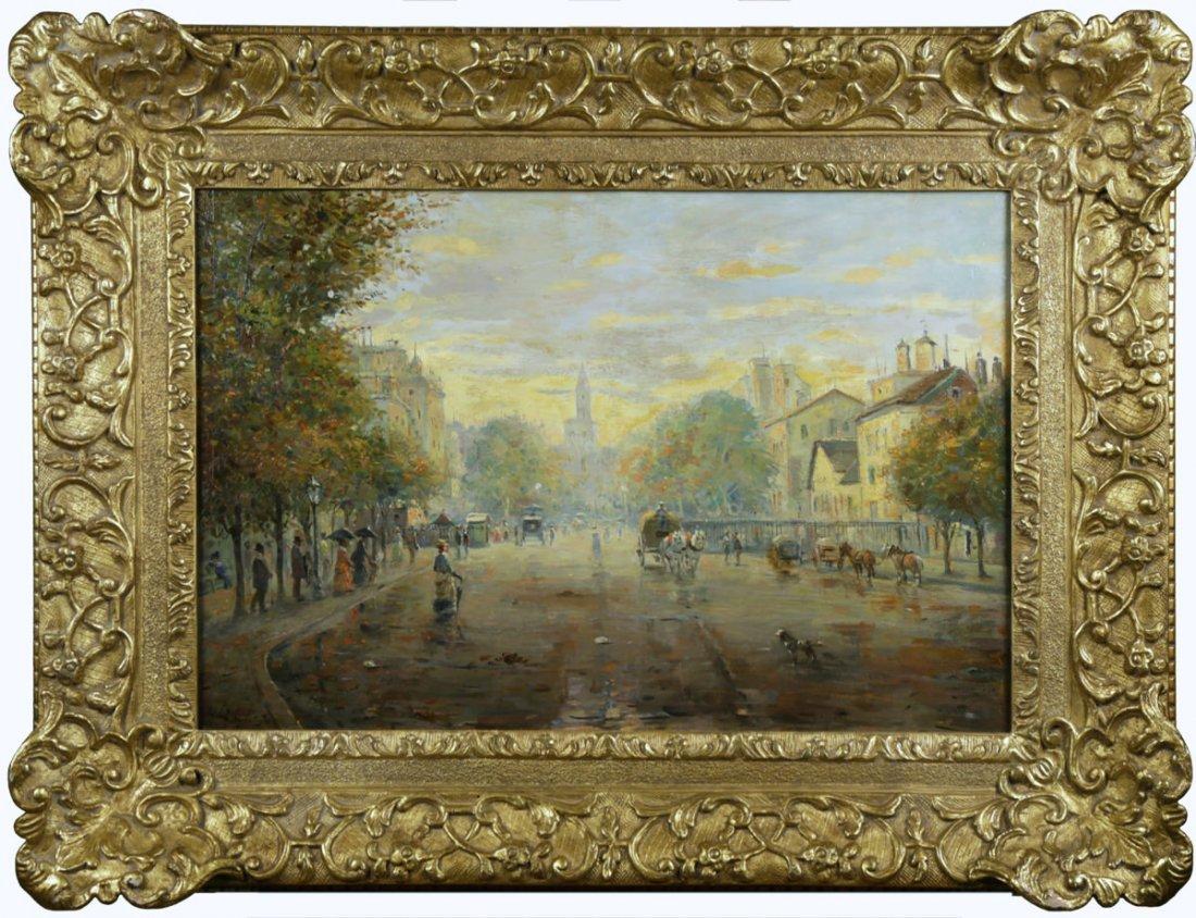 Parisian Street Scene, Avenue Montaigne, 19th Century - 2