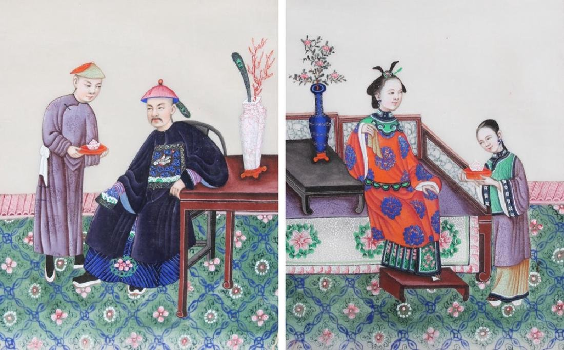 A Pair of Chinese Watercolor Paintings on Pith Paper