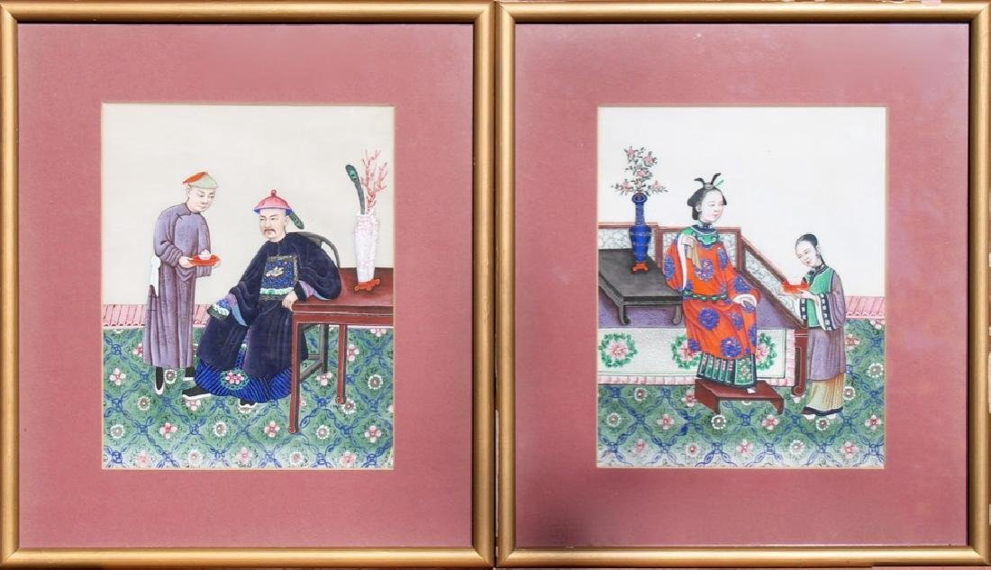 A Pair of Chinese Watercolor Paintings on Pith Paper - 2