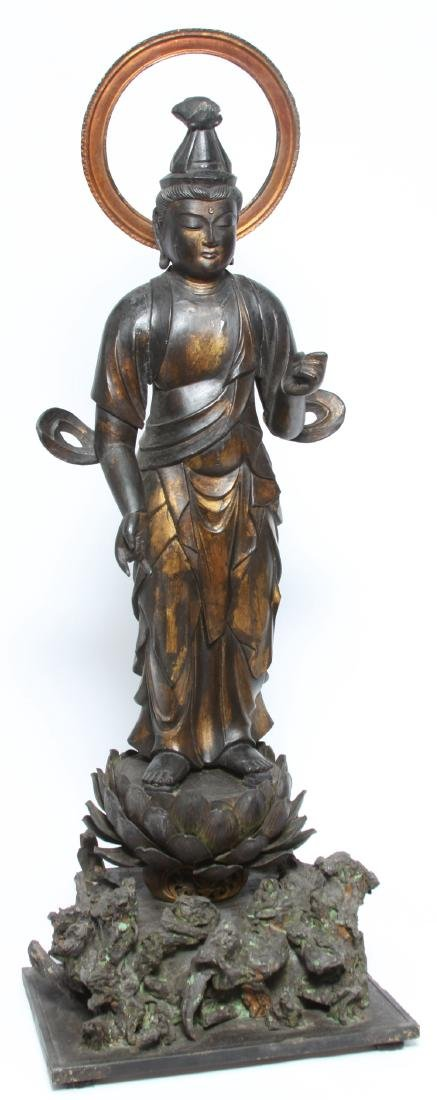 Japanese Gilt and Lacquer Carved Wood Kannon
