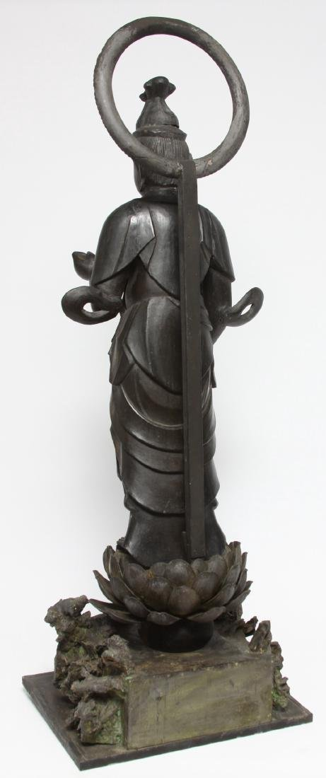 Japanese Gilt and Lacquer Carved Wood Kannon - 3