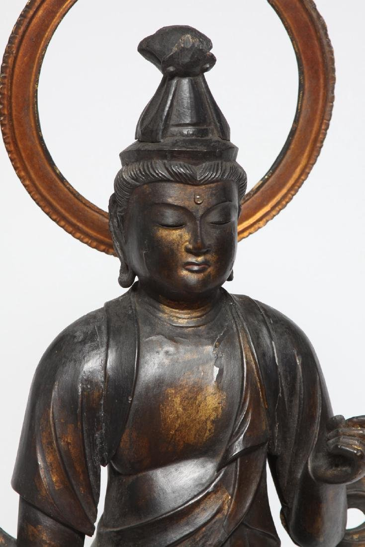 Japanese Gilt and Lacquer Carved Wood Kannon - 5
