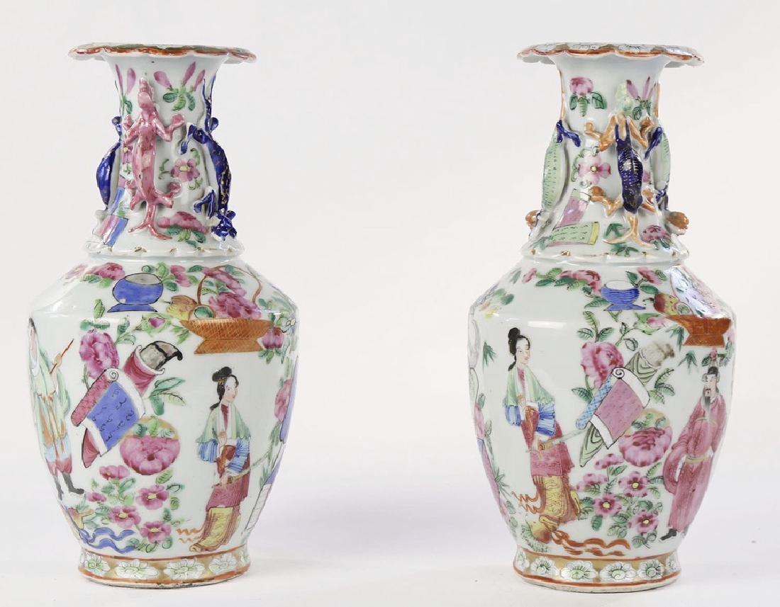 Pair Chinese Export Polychrome Porcelain Vases ca. 1860 - 3