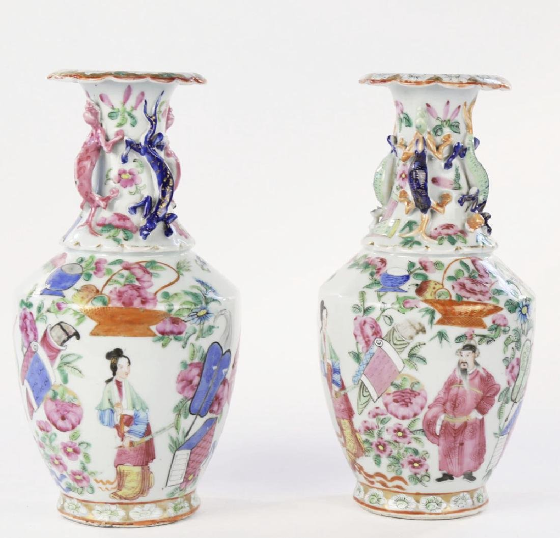 Pair Chinese Export Polychrome Porcelain Vases ca. 1860 - 5