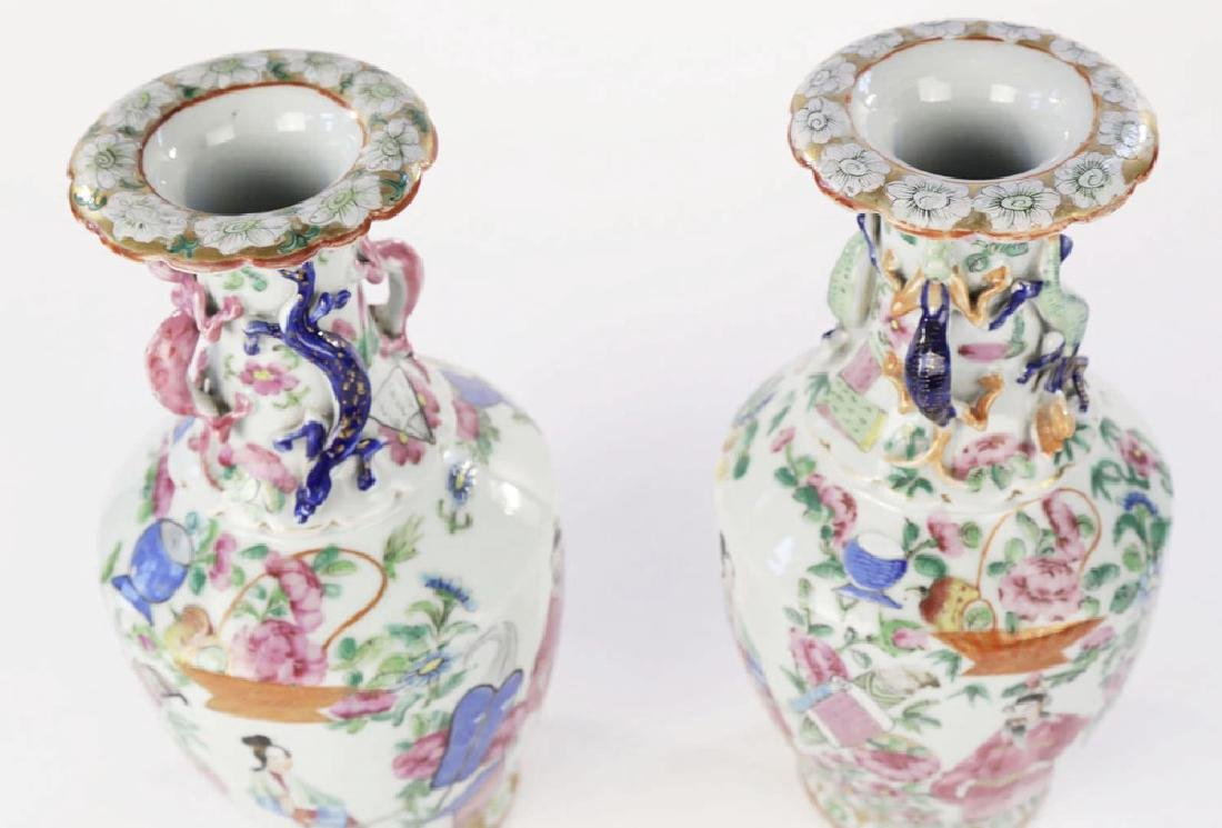 Pair Chinese Export Polychrome Porcelain Vases ca. 1860 - 6