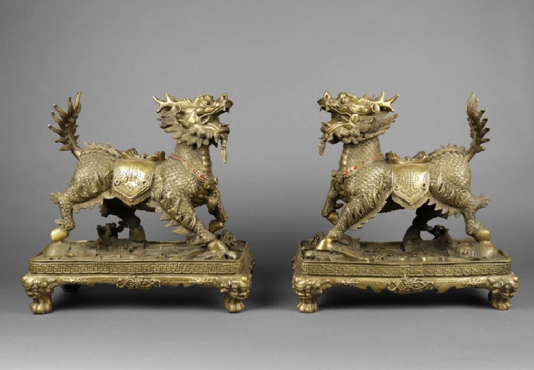 Pair of Chinese Brass Qilin figures, ca, 1950