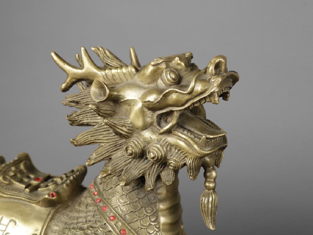 Pair of Chinese Brass Qilin figures, ca, 1950 - 4