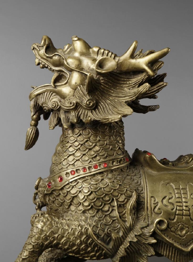 Pair of Chinese Brass Qilin figures, ca, 1950 - 6