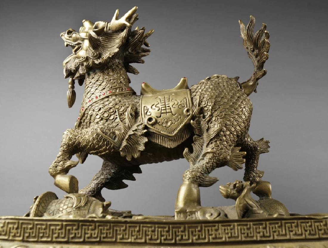 Pair of Chinese Brass Qilin figures, ca, 1950 - 7