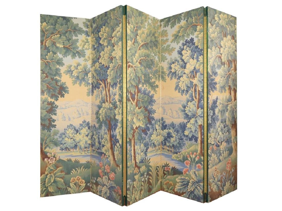 A Five Panel Verdure Tapestry Pattern Screen