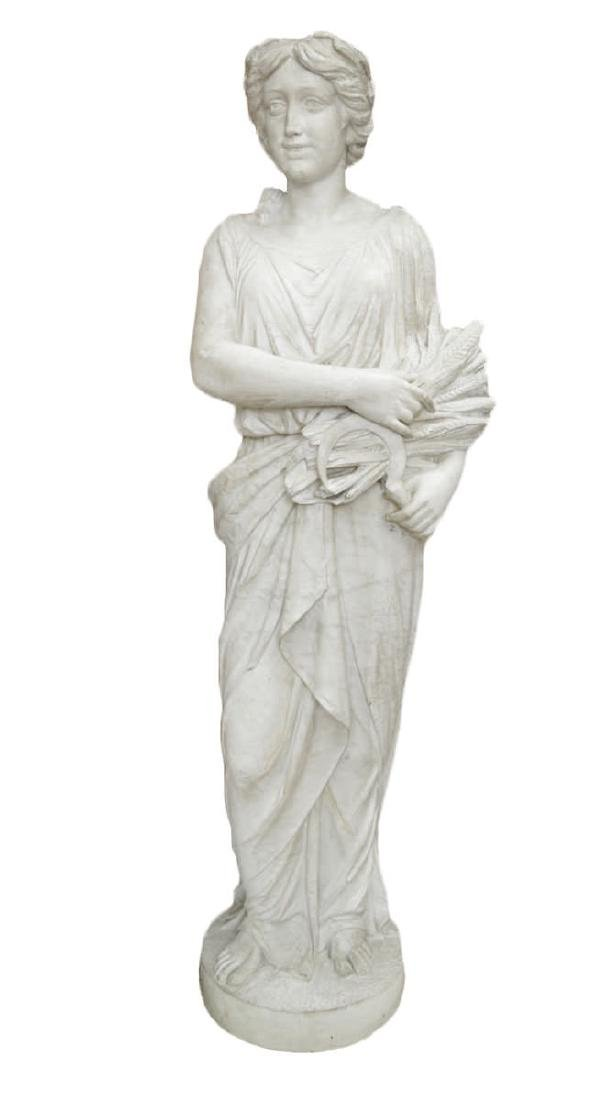 Full Scale Carved Marble Figure of a Woman