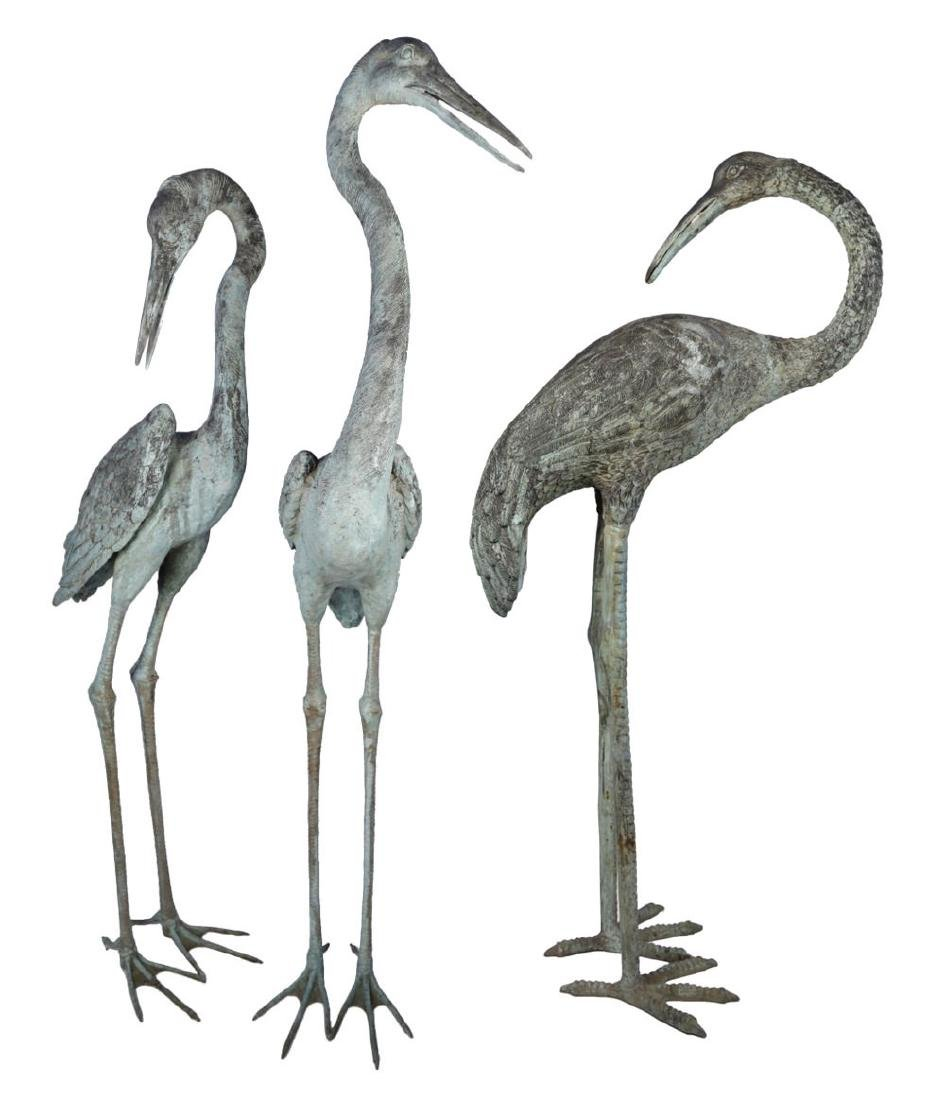 Group of Three Bronze Herons, 20thc.