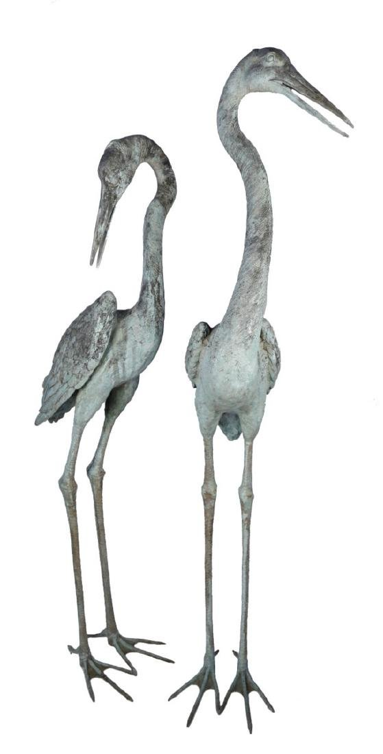Group of Three Bronze Herons, 20thc. - 2