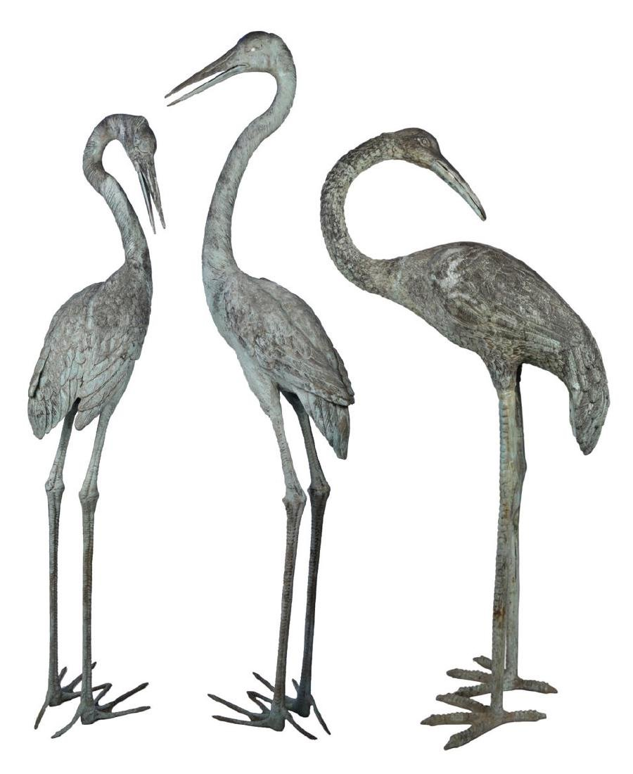 Group of Three Bronze Herons, 20thc. - 5