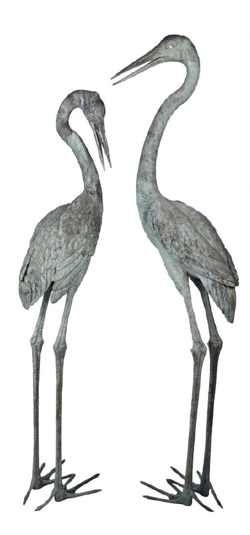 Group of Three Bronze Herons, 20thc. - 6