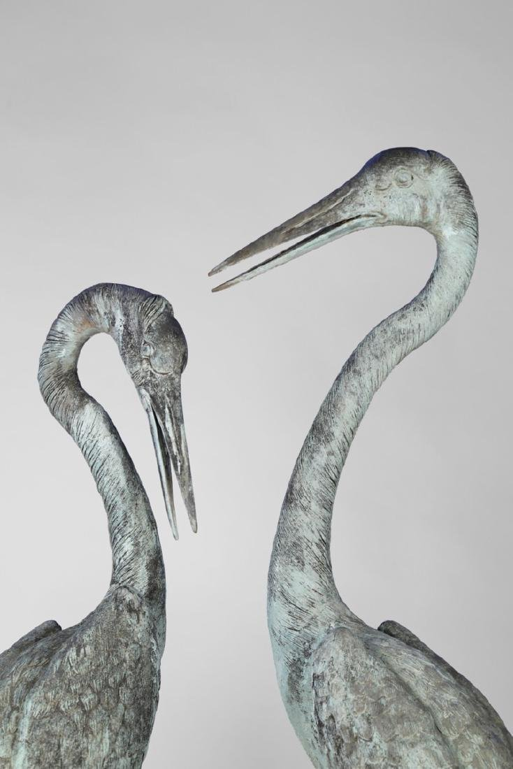 Group of Three Bronze Herons, 20thc. - 7