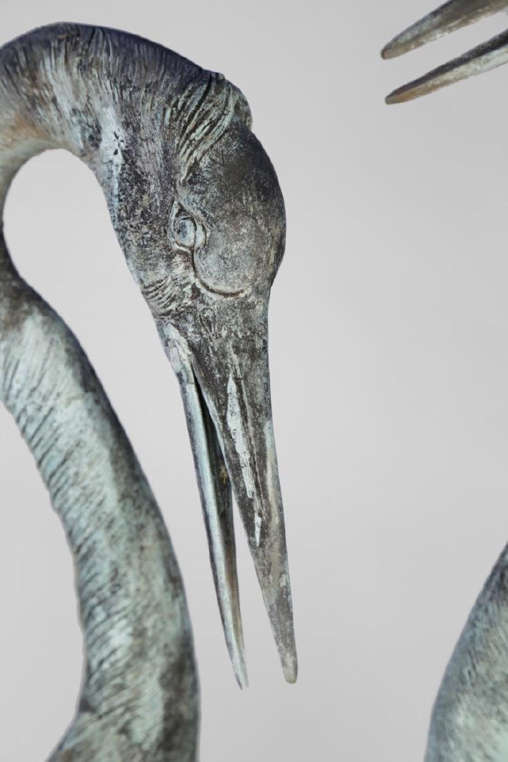 Group of Three Bronze Herons, 20thc. - 9