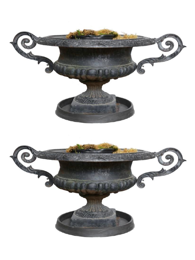 Pair of Victorian Cast Iron Garden Urns