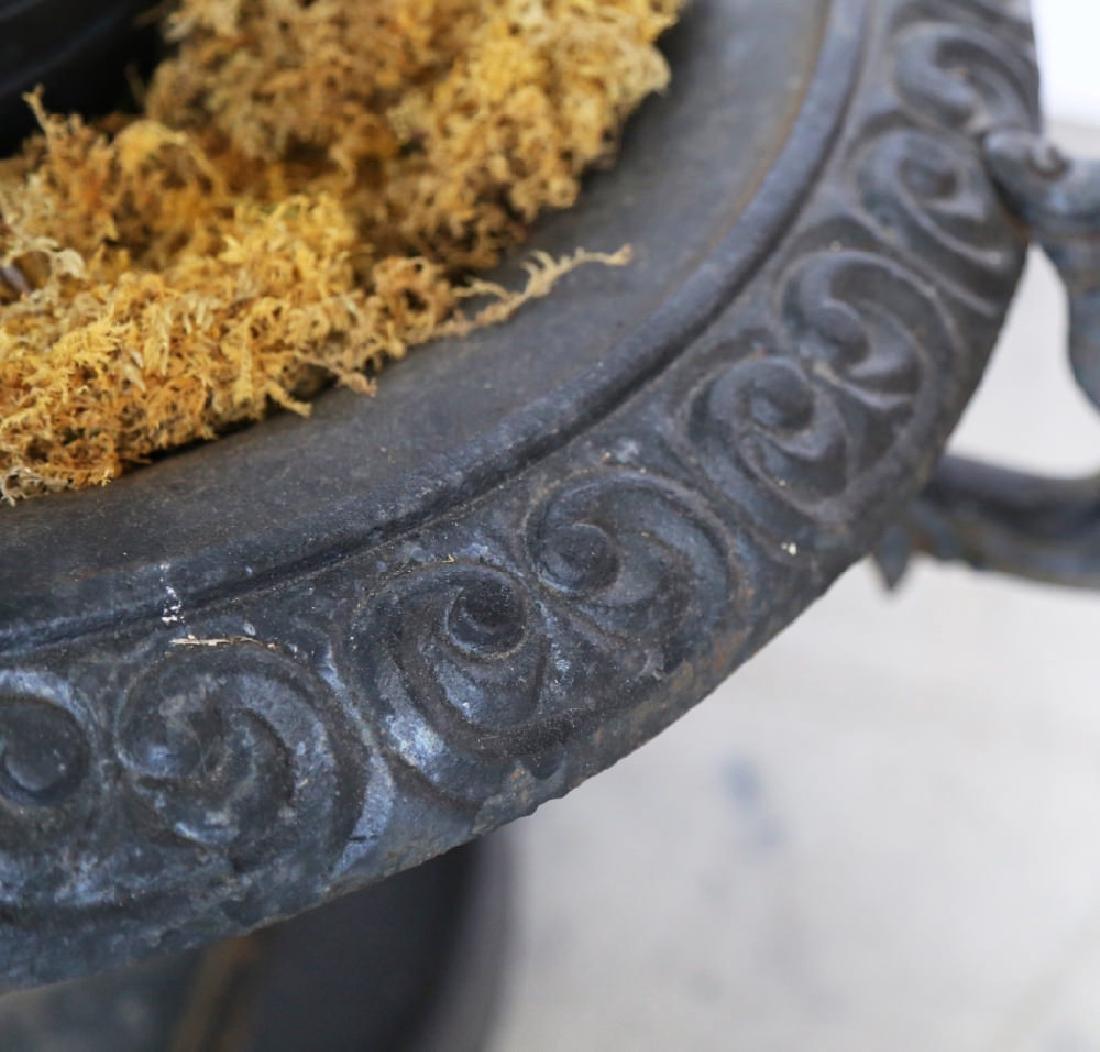 Pair of Victorian Cast Iron Garden Urns - 4