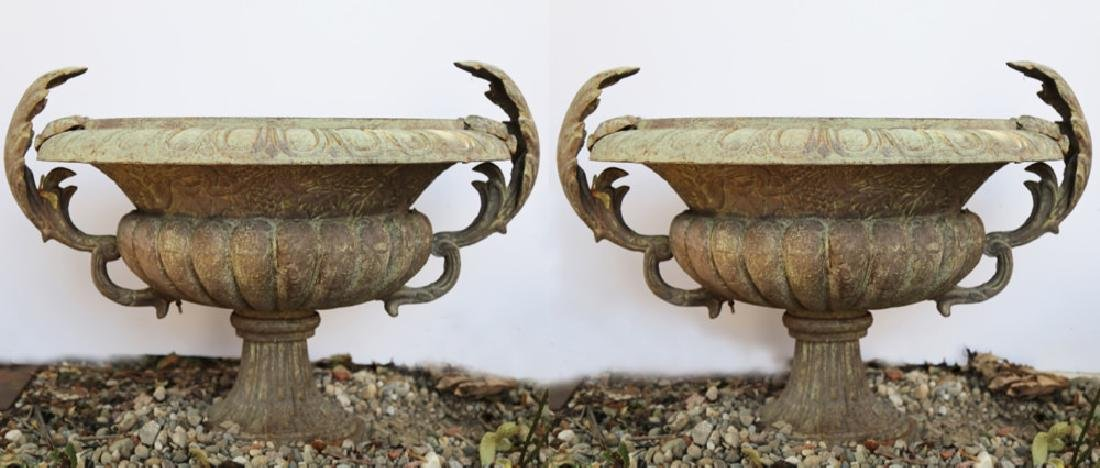 Pair of Cast Iron Garden Urns
