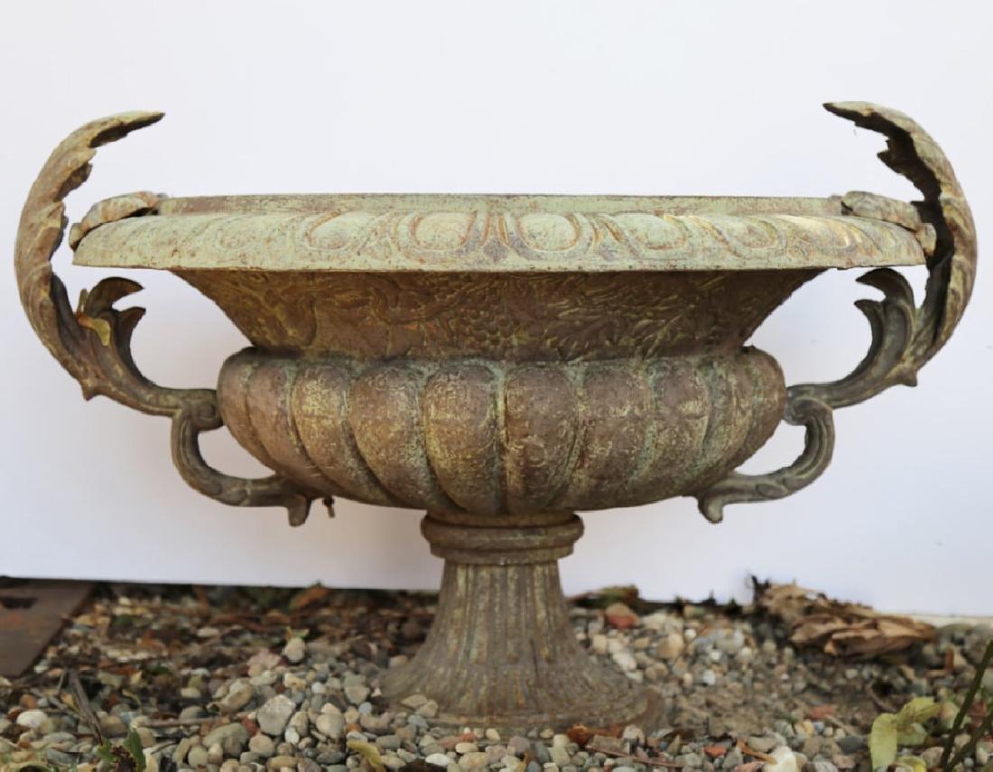 Pair of Cast Iron Garden Urns - 2