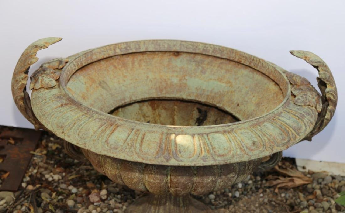 Pair of Cast Iron Garden Urns - 3
