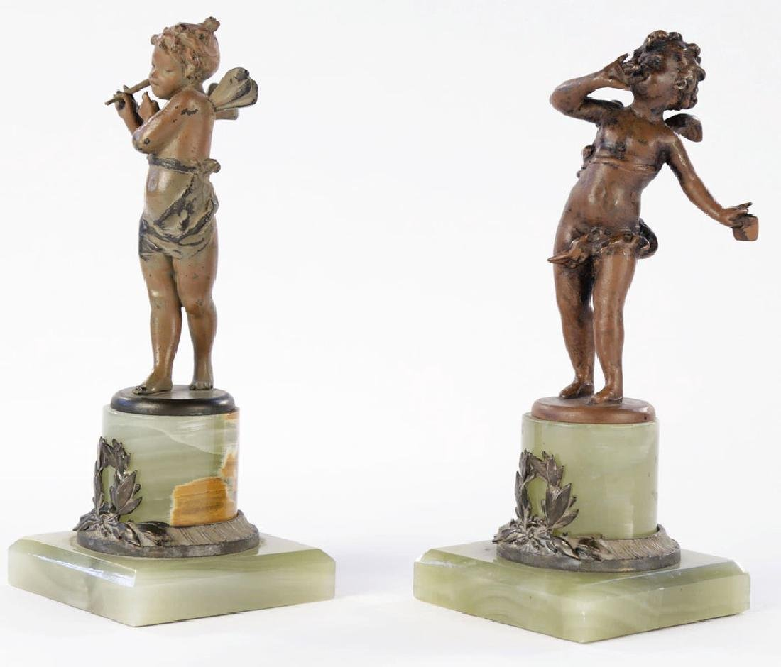 A Pair of Cold Painted Bronze Cherubs on Onyx Bases - 2