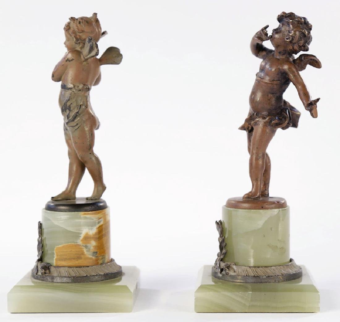 A Pair of Cold Painted Bronze Cherubs on Onyx Bases - 3