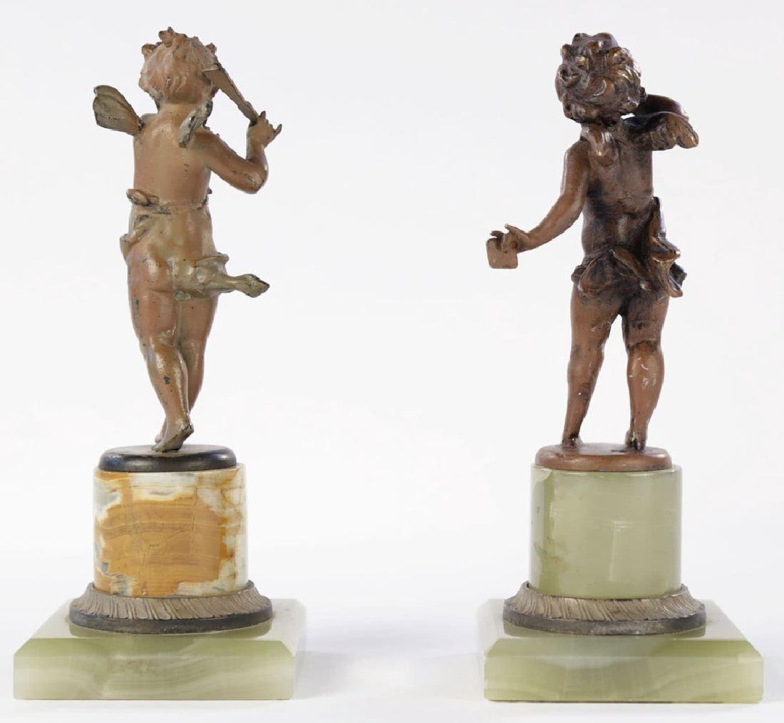 A Pair of Cold Painted Bronze Cherubs on Onyx Bases - 4