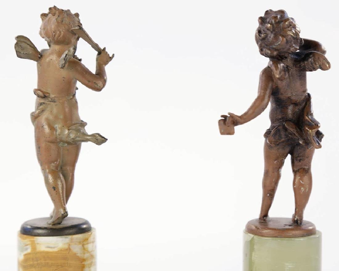 A Pair of Cold Painted Bronze Cherubs on Onyx Bases - 5