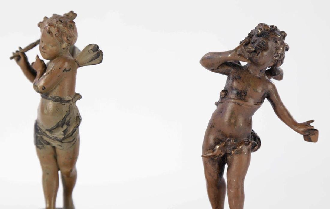 A Pair of Cold Painted Bronze Cherubs on Onyx Bases - 6