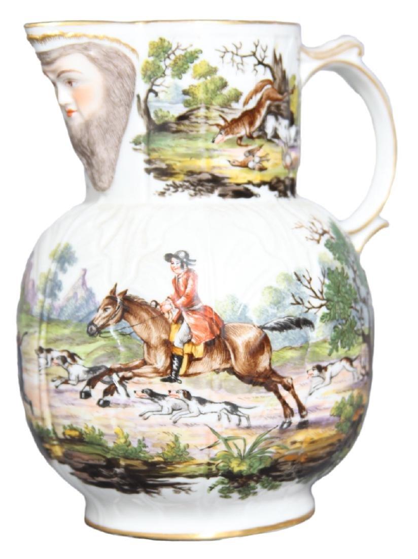An English Mask Jug with Hunt Scene, 19th century