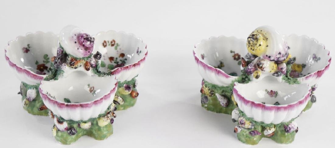 Pair 19th Century German Porcelain Shell Form Sweetmeat