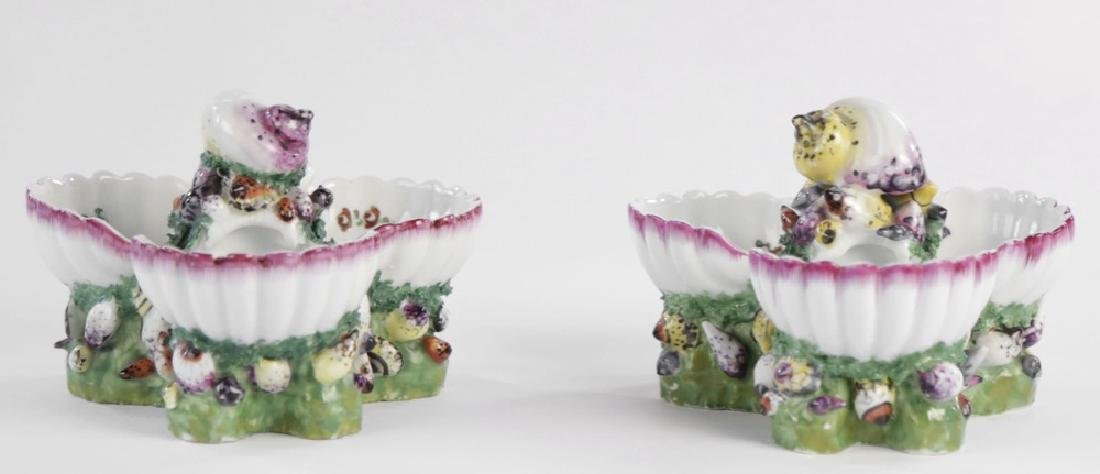 Pair 19th Century German Porcelain Shell Form Sweetmeat - 2