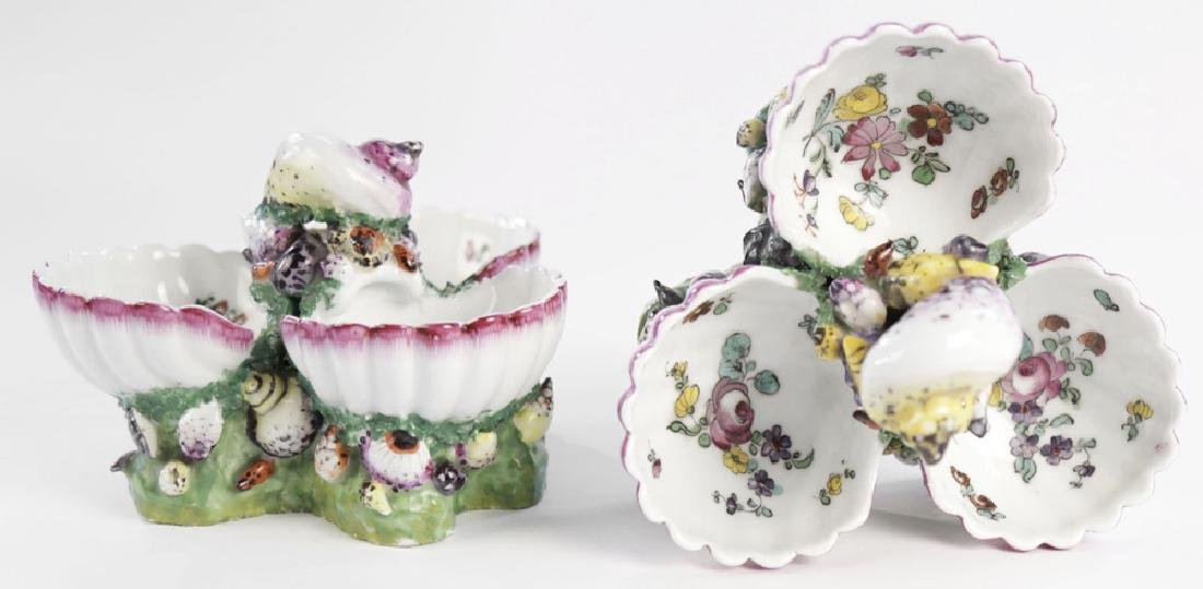 Pair 19th Century German Porcelain Shell Form Sweetmeat - 3