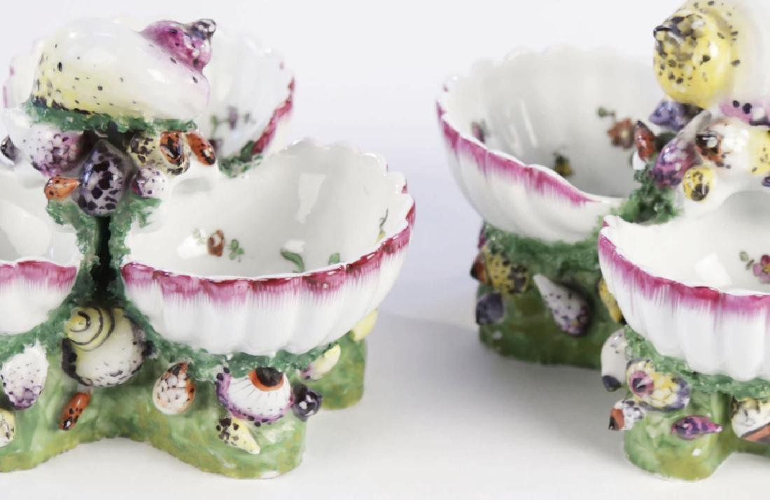 Pair 19th Century German Porcelain Shell Form Sweetmeat - 4