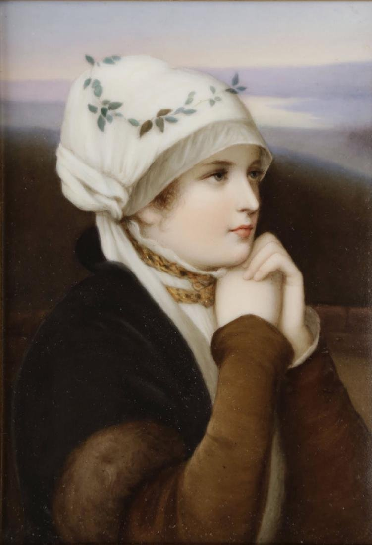 A Dresden Hand Painted Porcelain Plaque, 19th Century