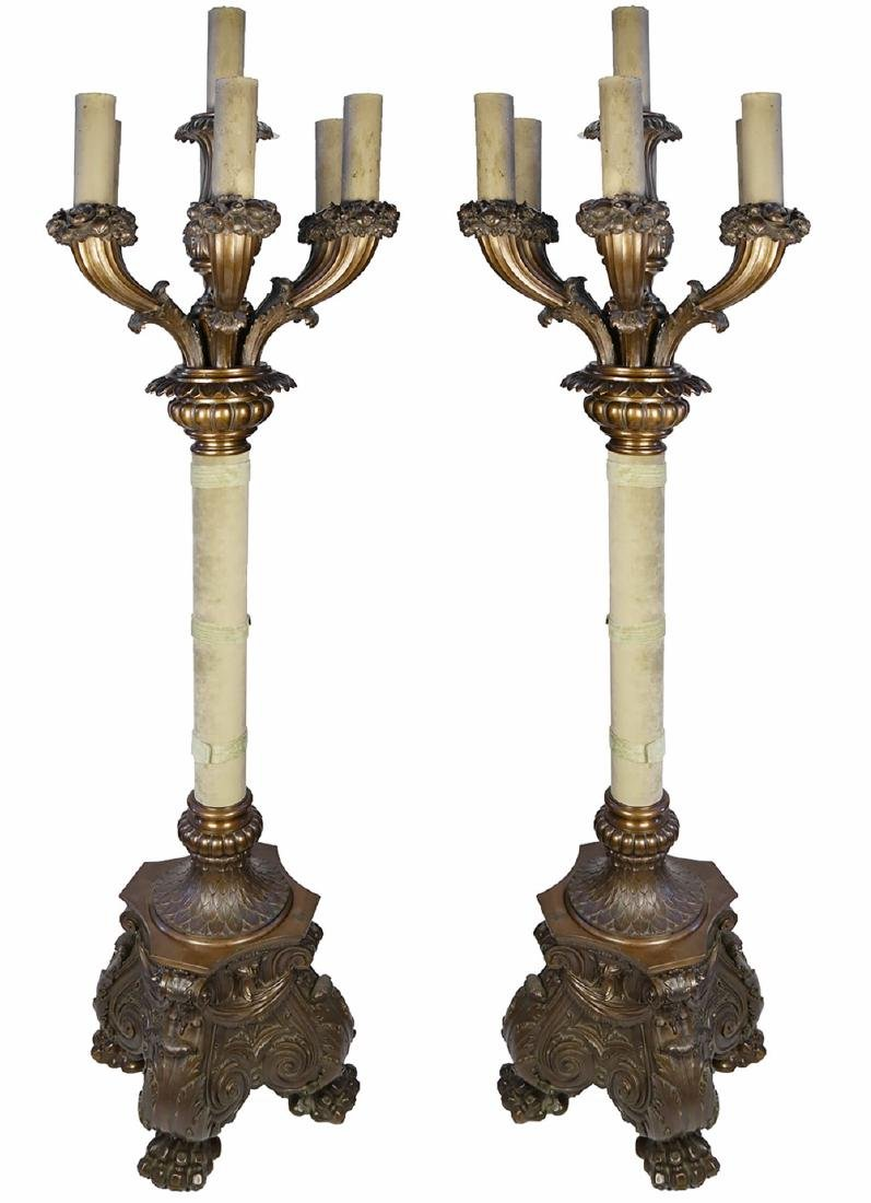 Pair of Monumental Seven Light Bronze Torcheres